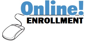"Blue letters on white background say ""Online Enrollment."" It is underlined with a black line that connects to a computer mouse drawing."