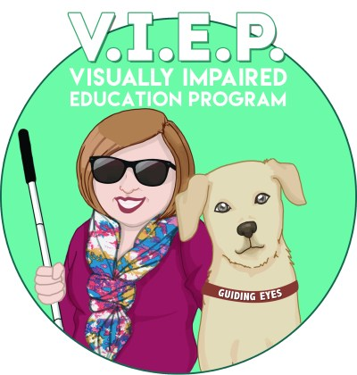 """ID: Holly & Frances VIEP logo. Teal circular background, with Frances and Holly portrayed as caricatures. Frances has a brown harness with """"Guiding Eyes"""" written across it. Holly has dark glasses on and the top of her white cane is visible in her left hand."""