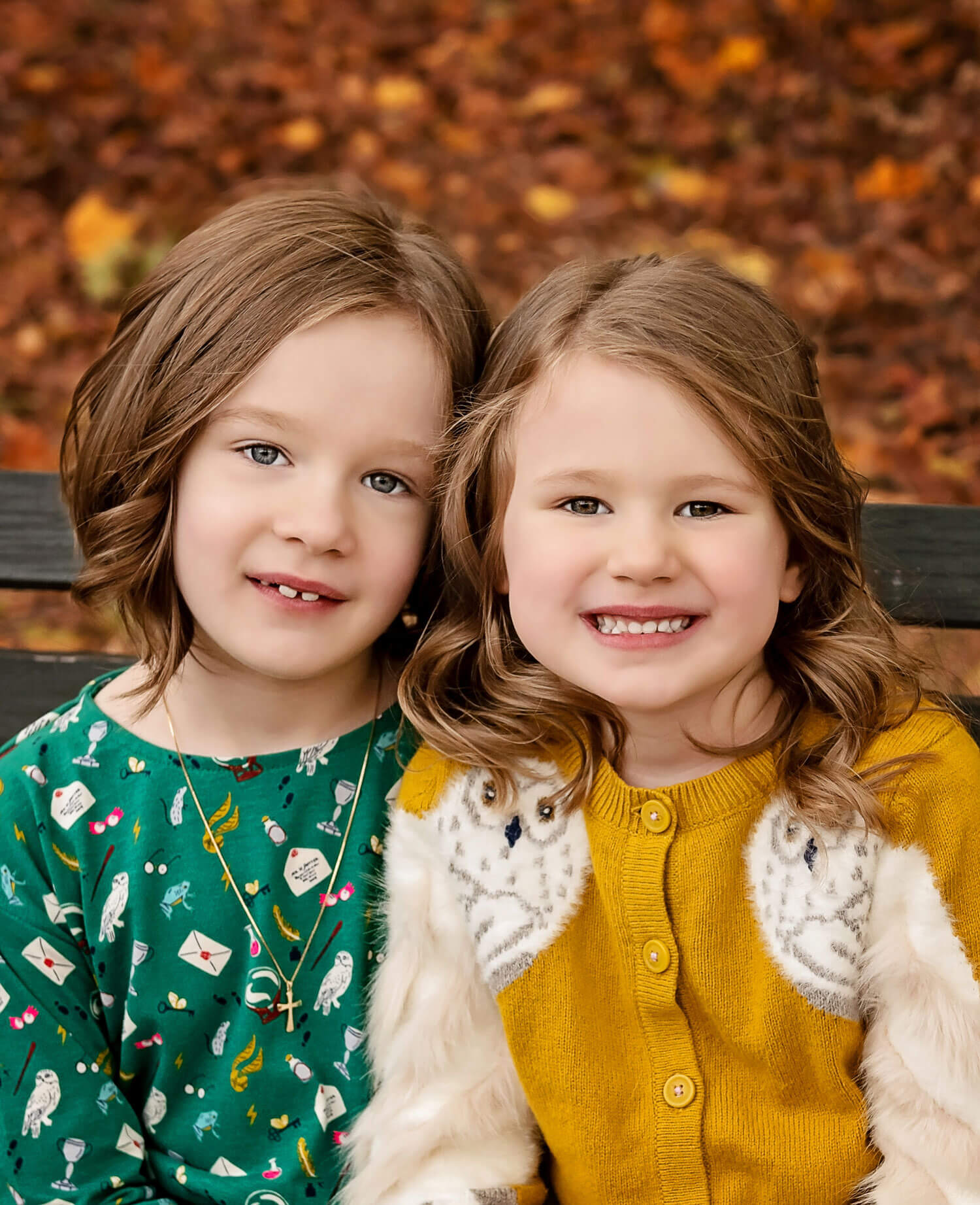 Close up of Nuala (left) and Aoife (right) sitting together. Nuala is wearing a green Harry Potter dress. Aoife has a mustard sweater with Harry Potter's owl, Hedwig, on the sleeves.
