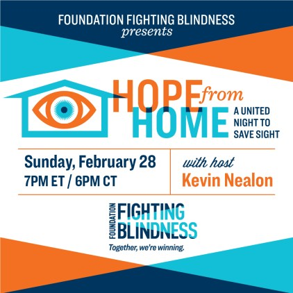 Foundation Fighting Blindness Hope from Home Gala Ad is blue and orange.