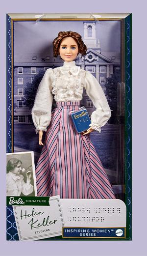 Barbie Helen Keller in light lavenderr box.