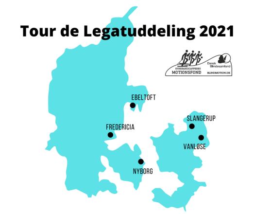 Kort over byer, som Tour de Legatuddeling vil besøge i 2021. Byerne er Ebeltoft, Fredericia, Nyborg, Slangerup og Vanløse Torv i København.