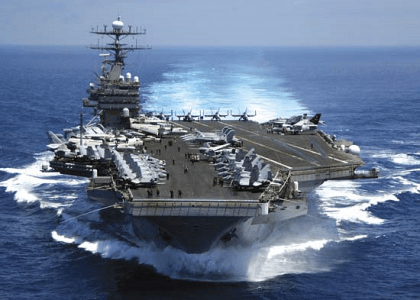 USS Carl Vinson, a nuclear-powered aircraft carrier of the U.S. Navy, in the Indian Ocean