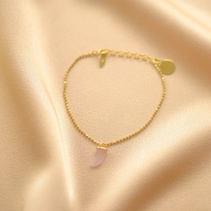 pulsera cadena colmillo rosa