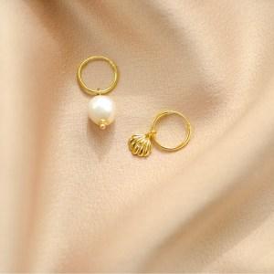 pendientes de perlas y concha-blingbling