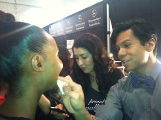 Models getting made up backstage tracy reese fall fashion week 2012