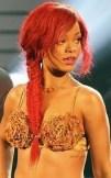Rihanna red fishtail braid
