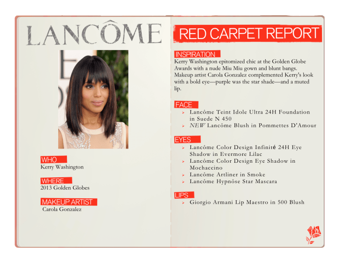 Red Carpet Report Kerry Washington Get the Look with Lancome makeup for 2013 Golden Globe Awards