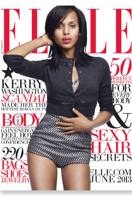 Kerry Washington wears a cashmere cardigan, $1,295, plaid shorts, $1,800, by Marc Jacobs, at Marc Jacobs (NYC), call 212-343-1490 or visit marcjacobs.com. Bra by Carine Gilson Lingerie Couture, $465, at Nancy Meyer (Seattle), La Mode Lingerie (Houston), visit net-a-porter.com. Diamond earrings by Harry Winston, price on request, call 800-988-4110 or visit harrywinston.com. Bracelet by Ana Khouri, $10,254, visit anakhouri.com.   Read more: Kerry Washington June 2013 Cover - Kerry Washington Fashion Shoot - ELLE