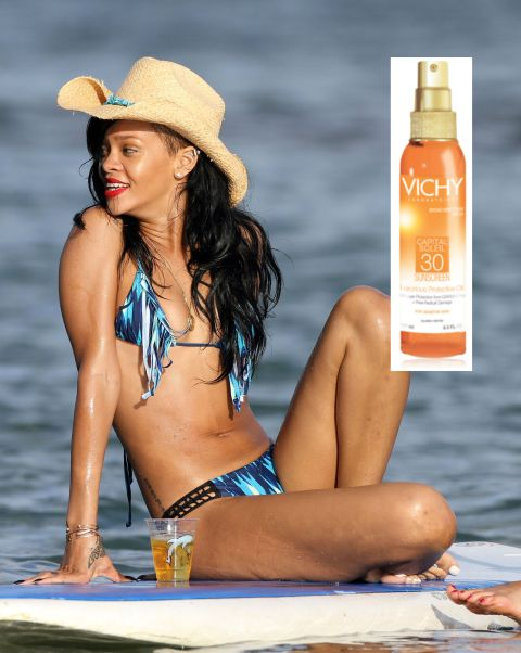 Rihanna beach bikini with sunscreen