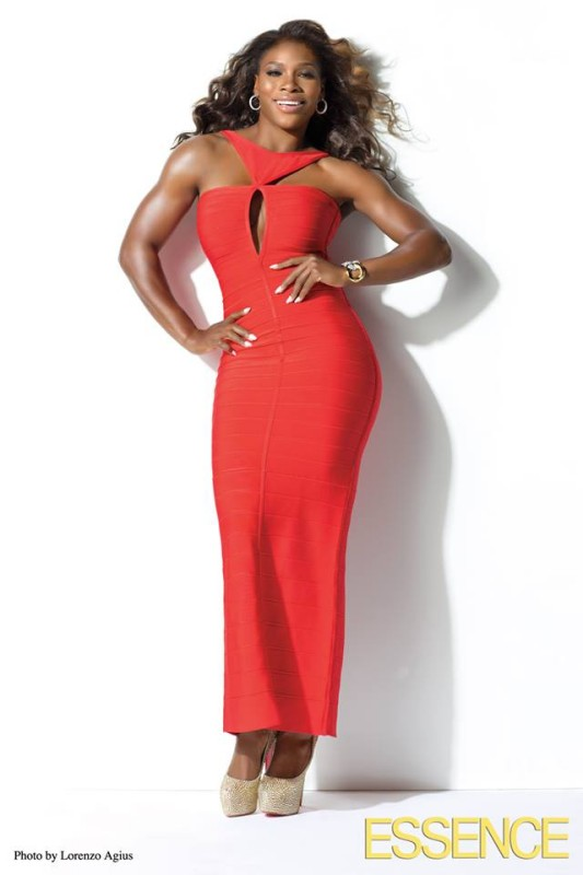 Serena-Essence REd Dress July 2013 Body Issue