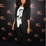 Thandie Newton rocks a fashion forward white tee emblazoned with a portrait of Grace Jones.