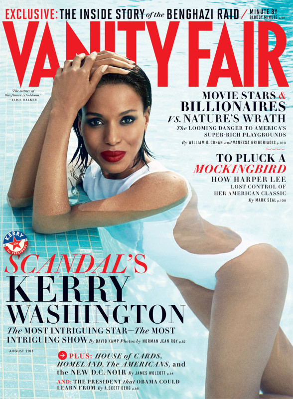 Vanity Fair August 2013 cover featuring Kerry Washington in a cut out white swimsuit PHOTOGRAPH BY NORMAN JEAN ROY.