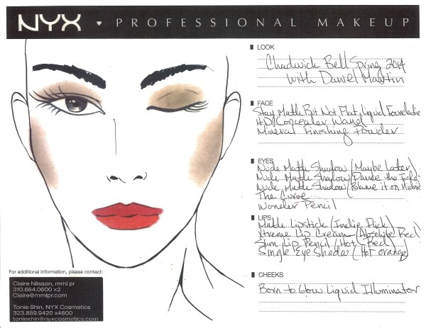 Chadwick Bell Spring-Summer 2014 Face Chart