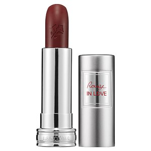 Lacome Rouge in Love Cocoa Couture -- deep maroon lipstick