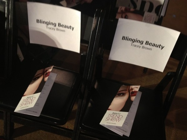 Blinging Beauty seats at Nordstrom beauty trendshow fall 2013