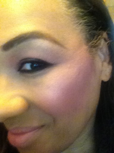Tracey wearing Lancôme Blush Subtil Blush & Go Trio in Ménage á Trois in Kissed for product review 2