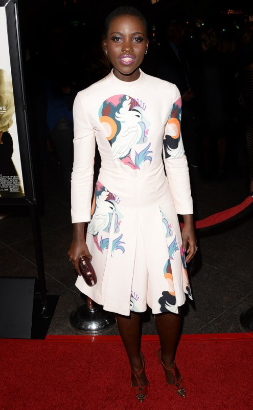 Lupita Nyong'o Miu Miu Parrot dress