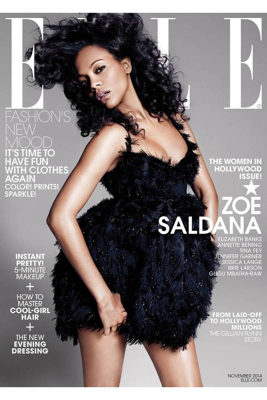 zoe saldana ell women in hollywood issue cover november 2014