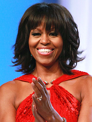 michelle-obama-bangs and fly away hair