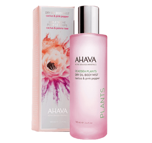ahava pink pepper and cactus dry oil body mist