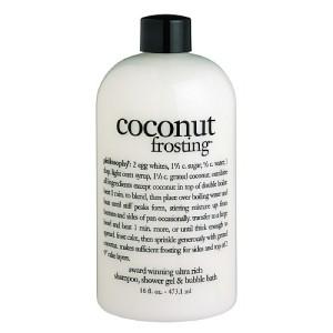 philosophy 3-in-1 ultra rich shampoo, shower gel bubble bath coconut frosting