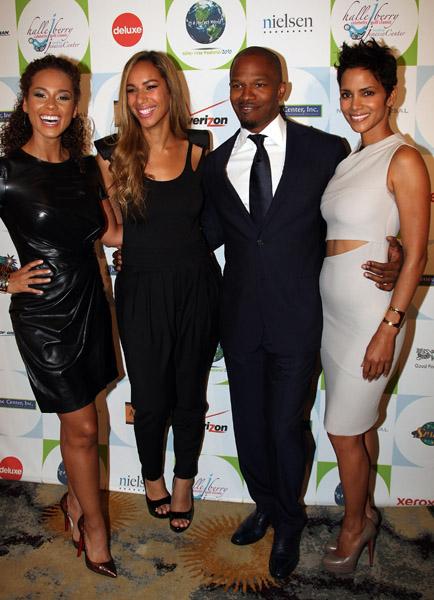 L-R Alicia Keys, Leona Lewis, Jamie Foxx, Halle Berry