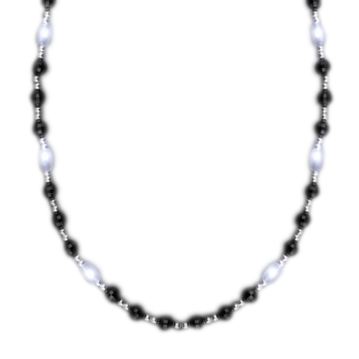 Classy Led Fancy Beads Black White And Silver Necklace