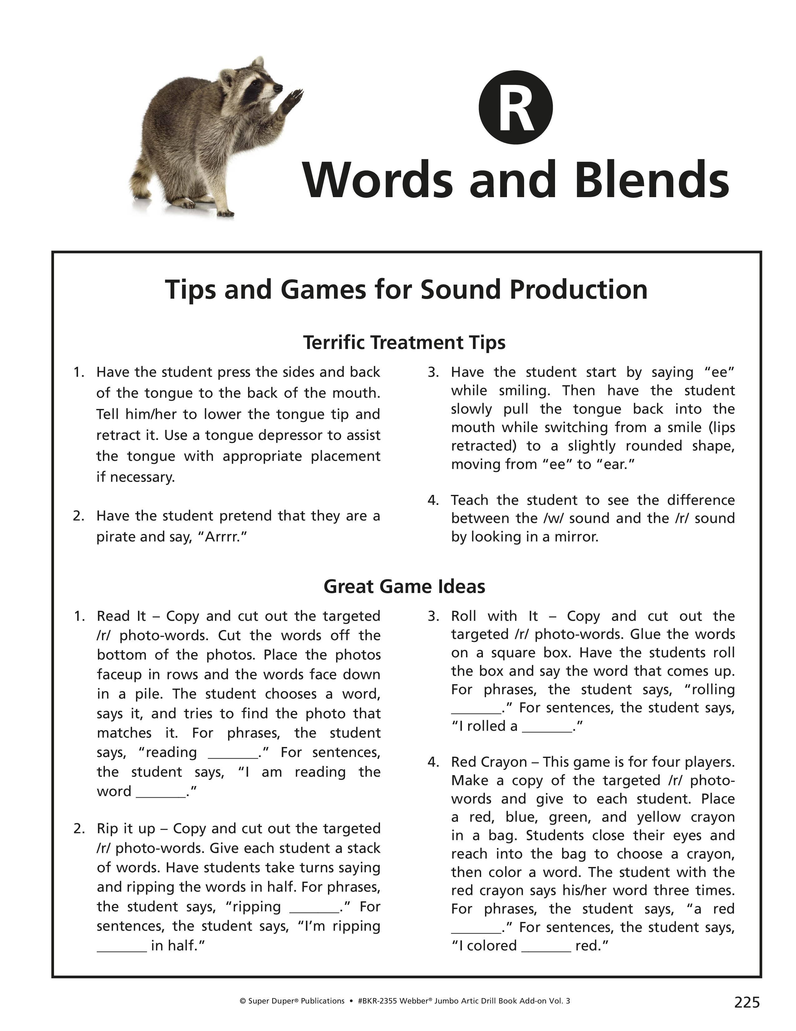 R R Blends Worksheets