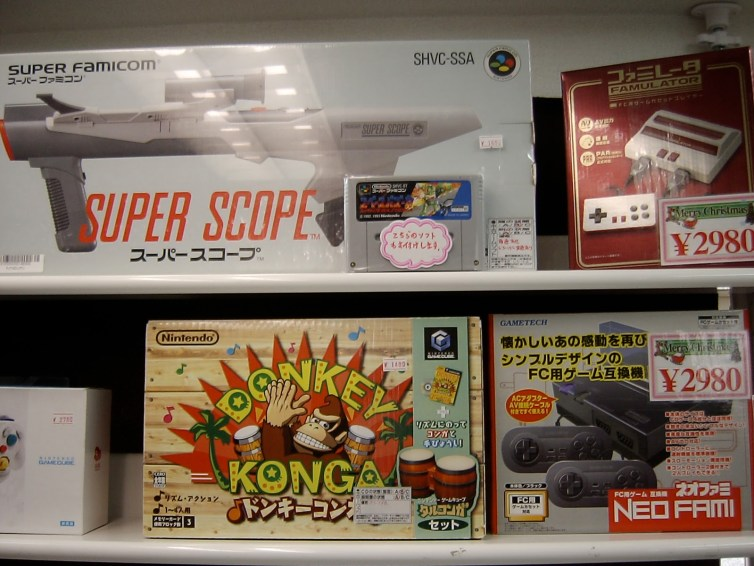 SFC Super Scope, Donkey Konga for Gamecube, and some Famiclones