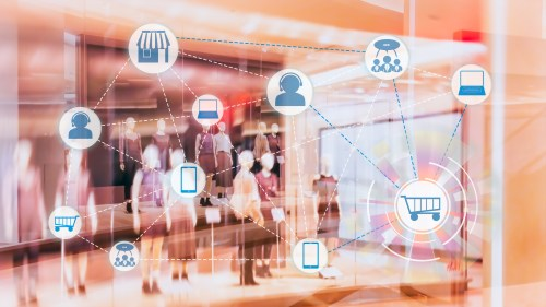 Marketing Data mangement platform and Omnichannel concept image. Omnichannel element icons on abstract Fashion stroe background.