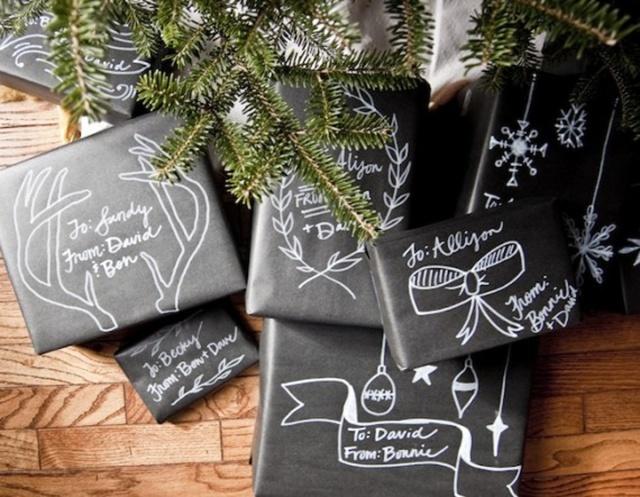 กล่องห่อด้วยกระดาษสีดำและวาดลายด้วยปากกาสีขาว