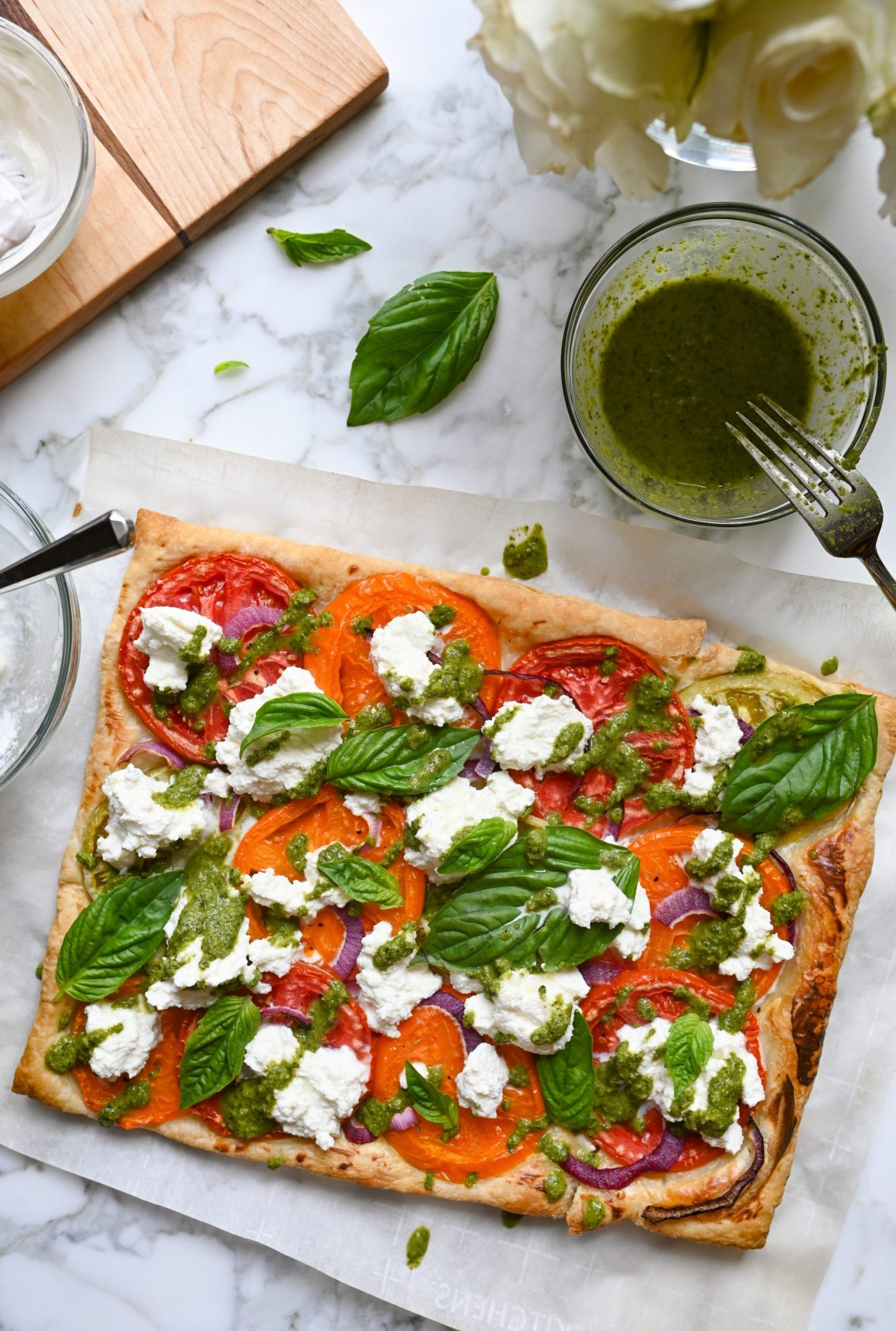 Roasted Tomato Tart With Pesto & Ricotta