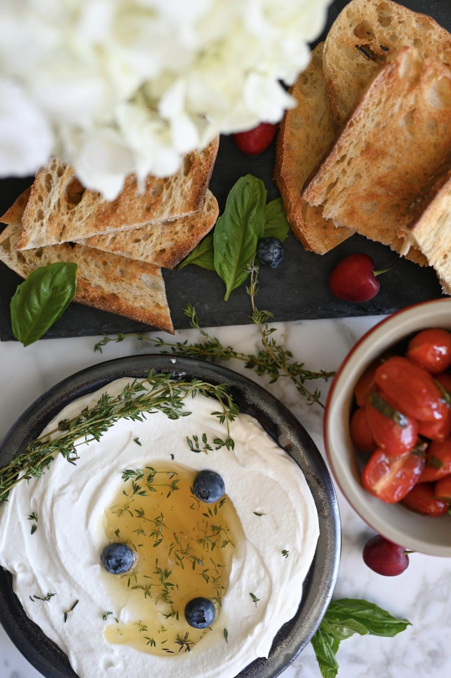 Whipped Ricotta Toast with Marinated Tomatoes & Lemon Thyme Honey