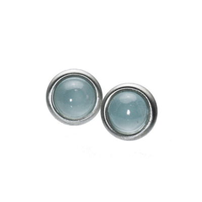 Aquamarine Cabochon Stud Earrings