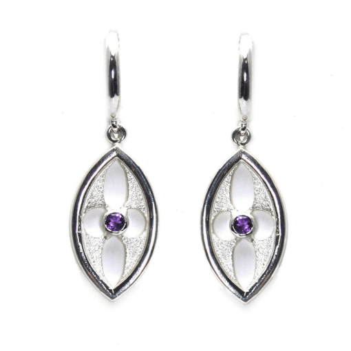 Arch Architectural Inspired Earrings with Amethyst Accents