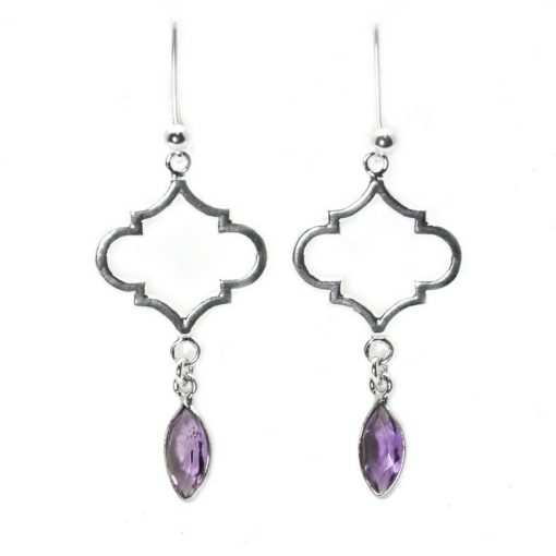 Moroccan Quatrefoil Earrings with Amethyst dangle