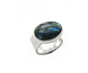 Faceted Labradorite Hammered Band in Argentium Silver