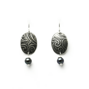 Artisan Earrings | Oval Romantic Roller-Printed Earrings With Patina And Peacock Pearl Accent