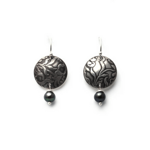 Artisan Earrings   Floral Roller-Printed Earrings With Patina And Peacock Pearl Accent