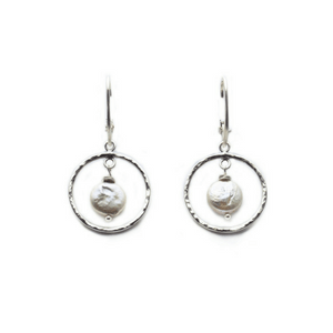 Artisan Earrings | Round Hammered Earrings With White Baroque Pearl Accent