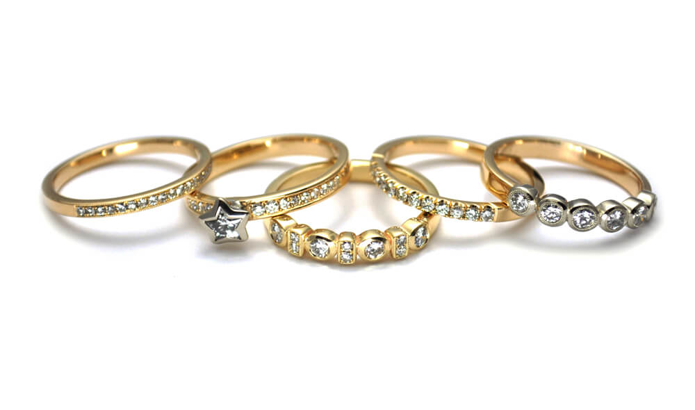 Repurposed Gold and Diamond stackable rings