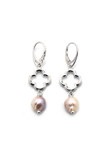 Baroque Pastel Freshwater Pearl Quatrefoil Earrings