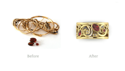 This customer had a lot of unused gold jewellery that was very sentimental to her as they had been gifts from her Mother.  However as styles changed she found she no longer wore any of them.  We designed this custom ring incorporating all of her stones and sentimental gold. It turned out beautifully!