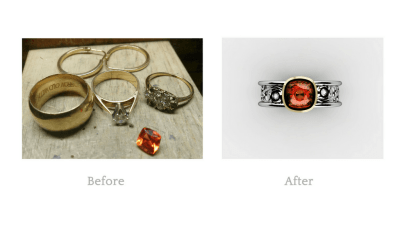 My customer had a lot of unused jewellery that she no longer wanted to keep. She had purchased a lovely garnet that she wanted to use. We were able to combine the stone she loved with the jewellery she wasn't using to create a wonderful 2 tone ring that she adores. Accented with small diamonds and gold granules.