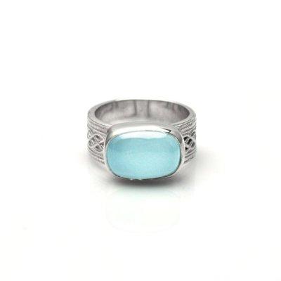 Aqua Chalcedony Lattice Ring