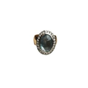 Custom Aquamarine White Sapphire Gold Ring