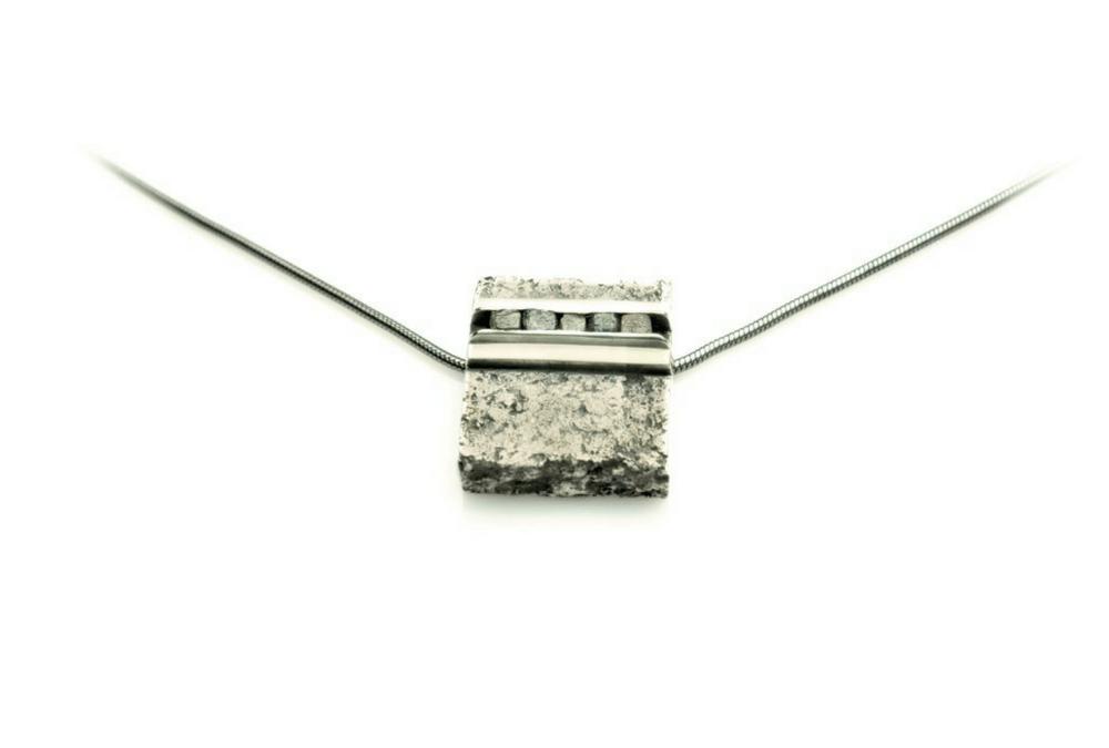 Custom Men's pendant with Raw diamond cubes