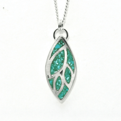 Turquoise Leaf Inlay Pendant