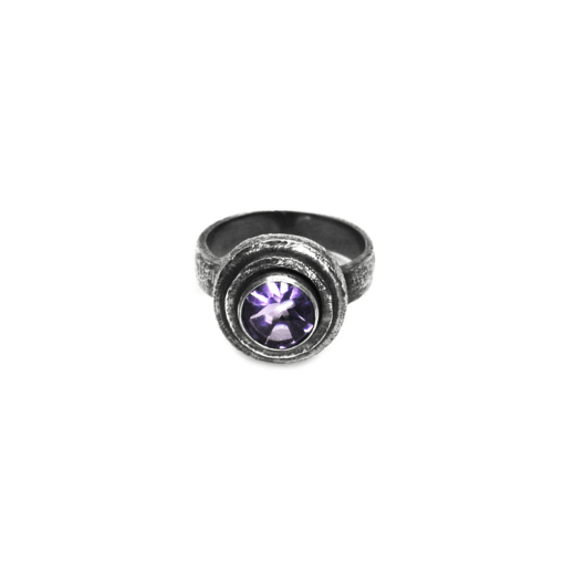 Hammered Amethyst Ring with Patina